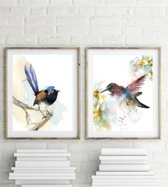 Birds Gallery Wall set of 2 Fine Art Prints, hummingbird and blue wren watercolor loose style painting art, bird wall print set