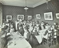 Oak Lodge Residential School for the Deaf, children eating in the dining room