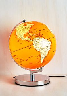 Travel Light Lamp - Orange, White, Silver, Global, Dorm Decor, Travel, Quirky, Guys, Novelty Print, Graduation, Spring, Summer, Fall, Winter, Gals