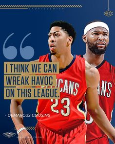 DeMarcus Cousins is ready to go with Anthony Davis and the New Orleans  Pelicans. Chris 8413426c5