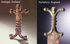 A pair of decorated Celtic sword hilts from Ireland and England, they date from c. 1st century BC.