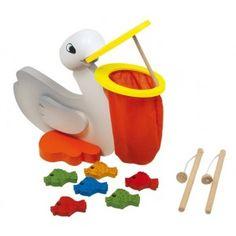 Een spannend Houten #visspel om de concentratie te stimuleren. Geschikt voor 1 tot 4 spelers in de leeftijd van 4 en ouder. Vang de mooi gekleurde vis uit de bek van de #pelikaan.Traint ook de motorische ontwikkeling omdat de bek van de pelikaan open gehouden wordt door een dun stokje. #speelgoed