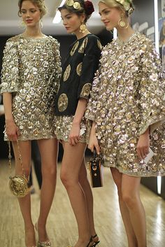 Esther Heesch, Kate Bogucharskaia and Hedvig Palm backstage at Dolce & Gabbana SS14.