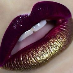 lipstick art Plum and gold ombre Lips! I love the metallic! More lipstick art Lipstick Art, Lipstick Colors, Lip Colors, Lipsticks, Gold Lipstick, Liquid Lipstick, Drugstore Lipstick, Makeup Art, Lip Makeup