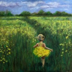 Golden Fields  by                       Aimee Cuthrell  child in field painting painting for girls room painting of child child in a nature painting