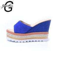 GENSHUO 2017 Women Wedges Leather Sandals Platform Slippers Sandals Women's Summer Platform Slides Shoes Zebra #Affiliate