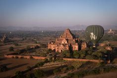 Luchtballonvaart boven Myanmar