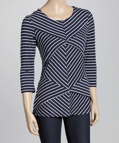 Look what I found on #zulily! Allie & Rob Navy & White Stripe Tiered  Top by Allie & Rob #zulilyfinds