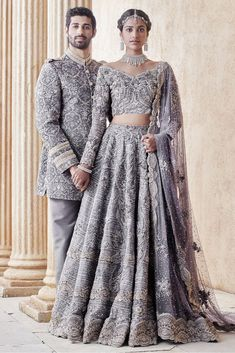 The Stylish And Elegant Lehenga Choli In Grey Colour Looks Stunning And Gorgeous With Trendy And Fashionable Embroidery . The Satin Fabric Party Wear Lehenga Choli Looks Extremely Attractive And Can A. Pakistani Couture, Pakistani Wedding Dresses, Indian Wedding Outfits, Bridal Outfits, Indian Couture, Indian Dresses, Indian Outfits, Wedding Hijab, Wedding Wear