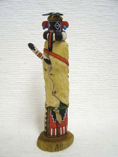 Native American Hopi Carved Left Handed (Siyangephoya) Hunter Katsina Sculptureby Paul Myron
