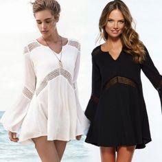Леди Женщины Стильный Новая мода V-образным вырезом Flare рукавом Свободные Пляж Мини сексуальное платье