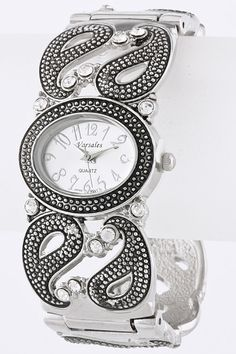 Silver Antique Inspired Paisely Cuff Watch #womenapparel #ladiesfashion #fashion