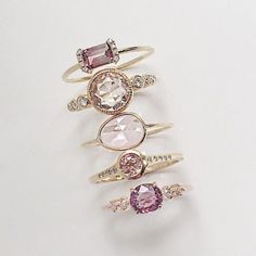 Vale Jewelry PS Ring with Pink Tourmaline, Aurora with Morganite, Pink Sapphire Slice, Caldera with Pink Tourmaline and Pascale with Pink Spinel
