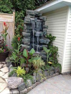 Diy Water Fountain, Garden Water Fountains, Waterfall Fountain, House Fence Design, Garden Design, Small Garden Waterfalls, Outside Fountains, Brick Garden Edging, Pond Landscaping