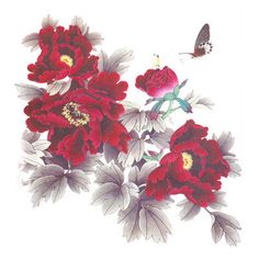 Dark Red Peony Flowers,Charming Girl Back Fake Tattoo Stickers,Beautiful Temporary Tattoos,Click to see more details.