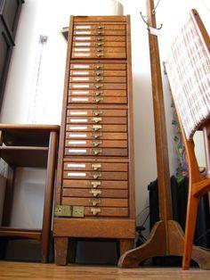 antique oak flat file drawers