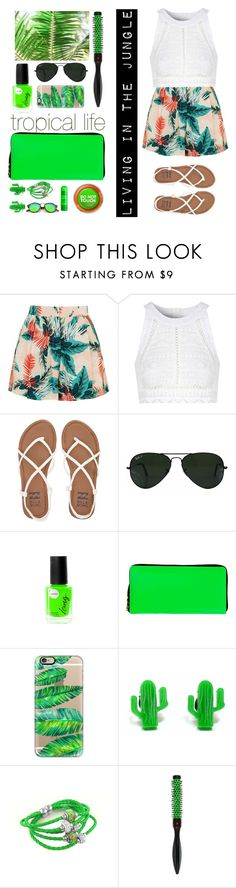 """living in the tropical jungle (created by my cousin)"" by vickytoria09 ❤ liked on Polyvore featuring Topshop, Glamorous, Billabong, Ray-Ban, Comme des Garçons, Casetify, Finest Imaginary and Denman"