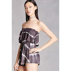 Forever21 Striped Tie-Dye Flounce Romper ($35) ❤ liked on Polyvore featuring jumpsuits, rompers, black, ruffle romper, forever 21 romper, playsuit romper, striped romper and tie-dye rompers