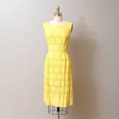 1960s Dress - Yellow Eyelet/Lace Wiggle Dress