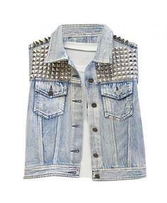 Faded Denim Vest with Studs
