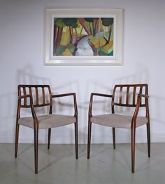 Rosewood Moller dining chairs - painting 'Spring Burn' by Lindsey Hambleton Danish Chair, Mid-century Interior, Painted Chairs, Mid Century Modern Design, Mid Century Furniture, Mid-century Modern, Dining Chairs, Tunbridge Wells, 1970s