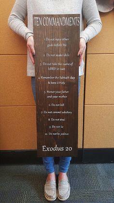 Ten commandments wooden sign by KaravangelosKreation on Etsy