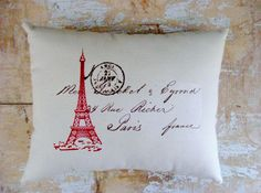 Eiffel Tower Pillow, French Country Home, Paris, Cottage Decor, French Decor. $16.00, via Etsy.