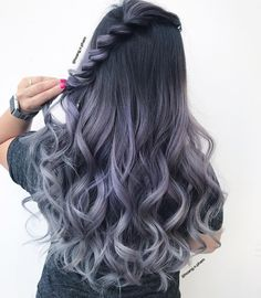 Korean Hair Color, Bold Hair Color, Pretty Hair Color, Hair Dye Colors, Lip Colors, Lilac Grey Hair, Icy Blue Hair, Black Hair Dye, Ombre Hair