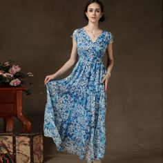 Blue V-Neck Floral Pattern Short Sleeve Maxi Chiffon Dress