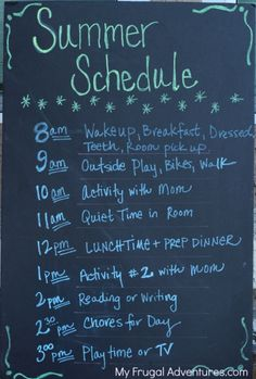 How to Make a Summer Schedule for Kids Not so much the schedule but the activities would be fun options.