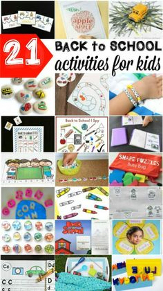 21 Back to School Activities for Kids! Games, crafts, literacy, math, bingo and more! Great ideas for kindergarten and first grade to ease back into school this fall! Back To School Teacher, First Day Of School, School Fun, School Stuff, Back To School Activities, Preschool Activities, Alphabet Activities, Preschool Rooms, Preschool Curriculum