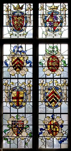 Heraldic glass in the Dining Hall of Clare College, Cambridge University.  Shows the arms of Elizabeth de Clare (the college's founder) along with her husband, parents, maternal grandparents, and her granddaughter, Elizabeth de Burgh, who married Lionel of Antwerp, Duke of Clarence.