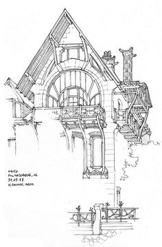 54 Nancy, 1900 by gerard michel Building Illustration, Illustration Sketches, Drawing Sketches, Architectural Sketches, Architectural Features, Drafting Drawing, Ornament Drawing, Black And White Sketches, Fantasy Drawings