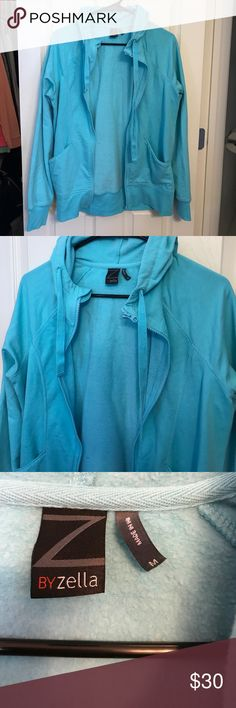Z by Zella zip up jacket New without tags - never been worn or washed. No flaws or stains or rips. True to size, size Medium. Really pretty teal color. See pictures for material description. Zella Jackets & Coats
