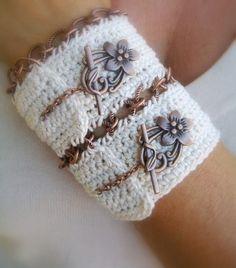 crochet cuff by JustColor on Etsy  http://www.etsy.com/listing/52237781/crochet-cuff-bracelet-handmade-ivory