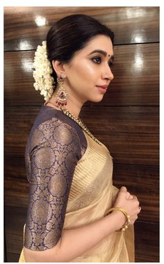 'I think that playing dress up begins at age five and never truly ends. Silk Saree Blouse Designs, Saree Blouse Patterns, Indian Attire, Indian Wear, Indian Dresses, Indian Outfits, Golden Saree, Golden Blouse Saree, Saree Look