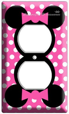 This would look AWESOME in Rylee's Minnie Room! Except maybe do it purple! MINNIE MOUSE PINK POLKA DOTS POWER OUTLET WALL ...