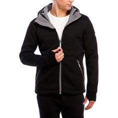 Bench Designation Zip Front Hoodie (77 NZD) ❤ liked on Polyvore featuring tops, hoodies, black, zip front hoodies, sweatshirt hoodies, long sleeve tops, fleece lined hooded sweatshirt and long sleeve hoodies
