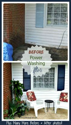 Does your home need some TLC after the moisture of winter and spring? We power washed the whole front of our home. See all the before and after photos. Power Washing House, Pressure Washing House, Roof Cleaning, Before After Photo, Diy Cleaning Products, Cleaning Recipes, Cleaning Hacks, Cleaners Homemade, Clean House