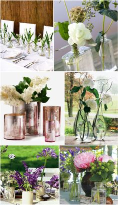 table centerpieces (lots of local flowers arranged in misc. vases and jars)