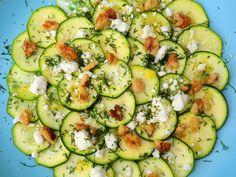 No-cook zuchinni salad with dill, feta, & walnuts