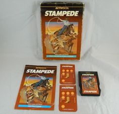 Intellivision STAMPEDE Cowboy Rodeo Video Game Cartridge Box Overlays Manual