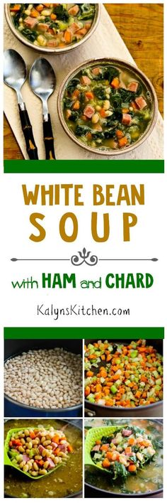 There's a lot of healthy greens in this White Bean Soup with Ham and Chard; use more greens and ham and less beans if you want a lower-carb soup. [found on KalynsKitchen.com]