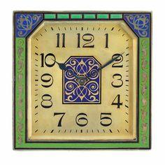 Art Deco Silver, Gilt-Metal, Blue & Green Enamel Desk Clock, by Lacloche, Paris, ca 1920.