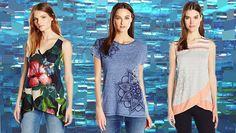 #Desigual Shirt - Modelle Black,Saruca und Masiel. Muster: floral, ethnisch, exotisch und Mandala, schwarz, blau, grau.
