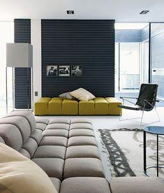 Pircher Planit Prefab House, Rolo, Italy by Bestetti Associati Studio. Tufty Time sofas by B&B Italia