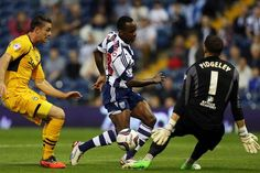 Saido Berahino scores for West Bromwich Albion, one of his three goals against Newport County in the Capital One cup clash.