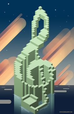 Inspired by the block-ish landscapes of Minecraft and the art style of Steven Universe, this poster is a great addition to any music lover's collection! This poster is professionally printed on high-quality matte-finish paper. Isometric Drawing, Isometric Design, Any Music, Music Lovers, Steven Universe, Singing, Design Inspiration, Concept, Drawings