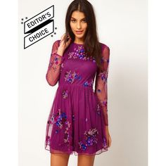 Asos Skater Dress With Embellishment ($105) ❤ liked on Polyvore