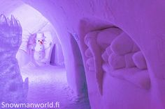 Snow decorations in the corridors of the Snowman World Igloo Hotel in Rovaniemi Lapland